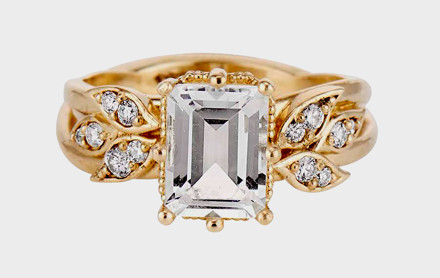 LEL Jewelry 14K yellow gold ring with emerald cut white topaz and accent diamonds