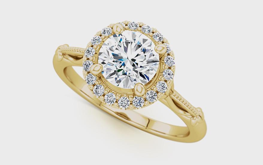 Stuller 14K yellow gold semi-mount with diamonds
