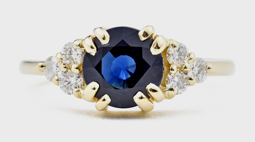 Valerie Madison Fine Jewelry 14K yellow gold ring with sapphire