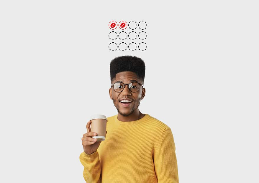 guy holding coffee cup