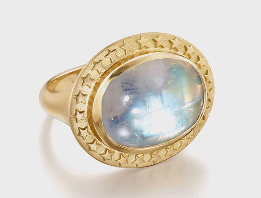 Elizabeth Moore 18K recycled yellow gold ring with rainbow moonstone.