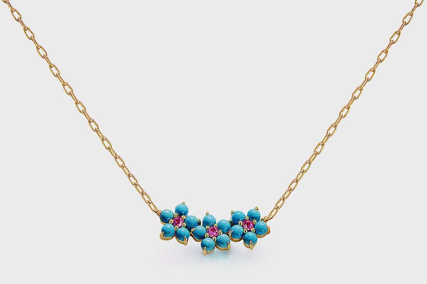 Jane Taylor 14K yellow gold necklace with Sleeping Beauty turquoise and pink sapphires.