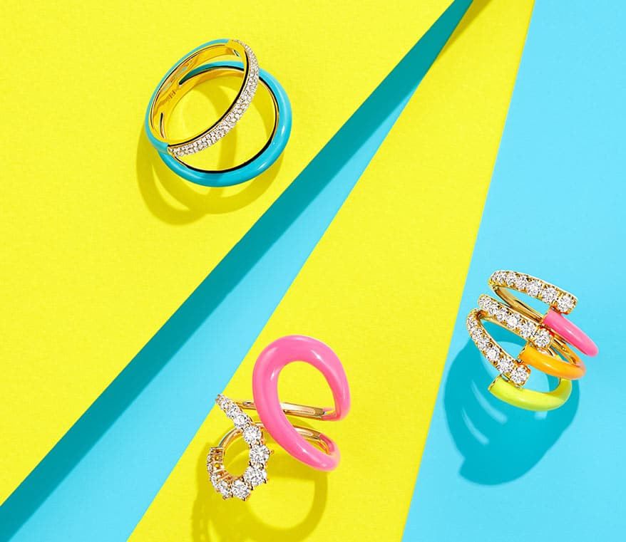 Neon ring top left: EF Collection; neon rings bottom and right: Melissa Kaye
