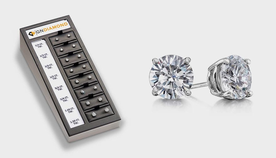 Diamond studs by GN Diamond set in white gold, three-prong or four-prong in a variety of sizes from GN Diamond