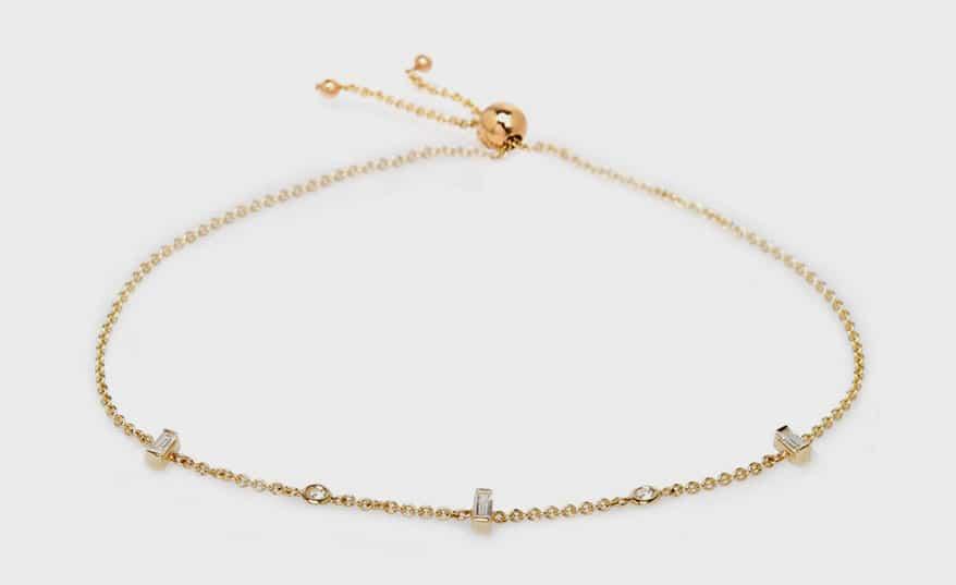 Zoe Chicco 14K floating and baguette diamond bolo bracelets.