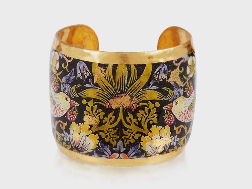 Evocateur 22K gold leaf and enamel cuff bracelet.