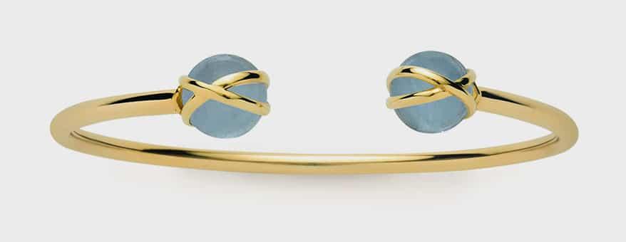 L. Klein 18K yellow gold bangle bracelet with aquamarine.