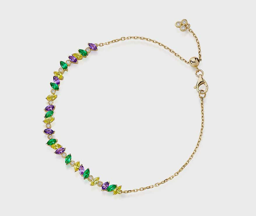 Lark & Berry 14K yellow gold bracelet with cultured emeralds, sapphires, and diamonds.