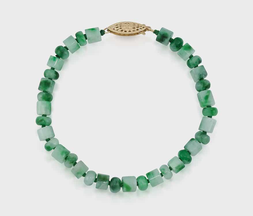 Mason-Kay Jade Green jade bead bracelet with 14K yellow gold clasp.
