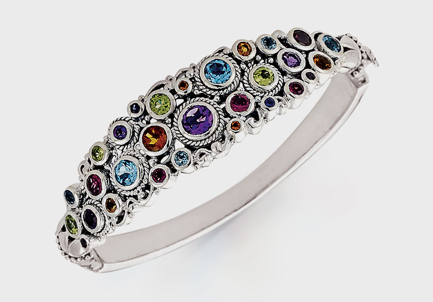 Samuel B. Collection Sterling silver bangle with gemstones, including peridot, amethyst, rhodolite, citrine, blue topaz, tourmaline, and tanzanite.