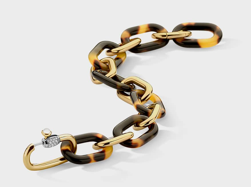 Ti-Sento Milano 18K yellow gold-plated silver bracelet with CZ, acrylic, and rhodium plating