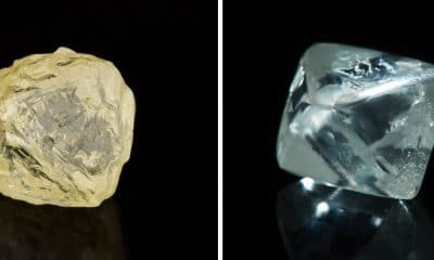 Diavik Helios and 26 carat white gem quality rough Argyle diamond