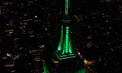 Empire State building in green lights