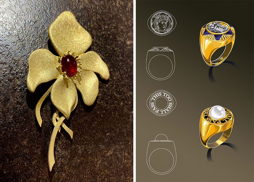 Flower jewelry piece and Ring designs/renderings images