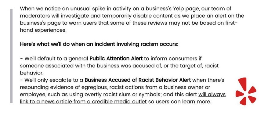 Yelp to Flag Businesses Accused of Racism With 'Consumer Alerts'