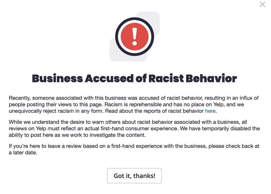 Yelp racism alert