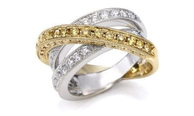 JYE Two-toned 18K gold crossover ring