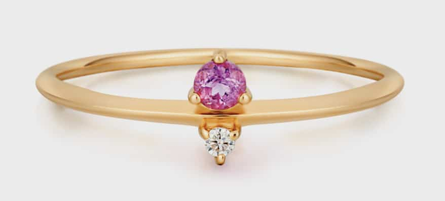 Aurelie Gi 14K yellow gold ring with amethyst and diamond