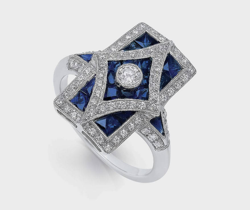 Beverley K14K white gold ring with sapphires and diamonds