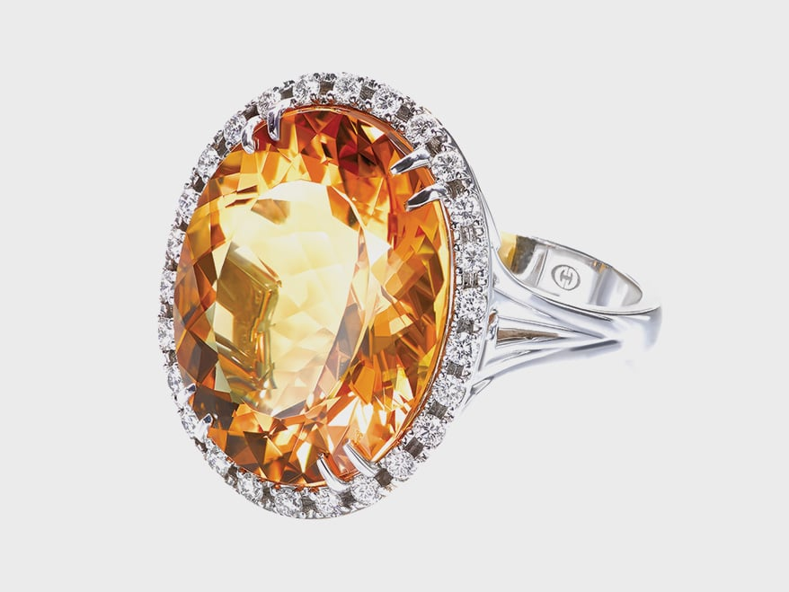 Christopher Designs14K white gold ring with yellow beryl and diamonds