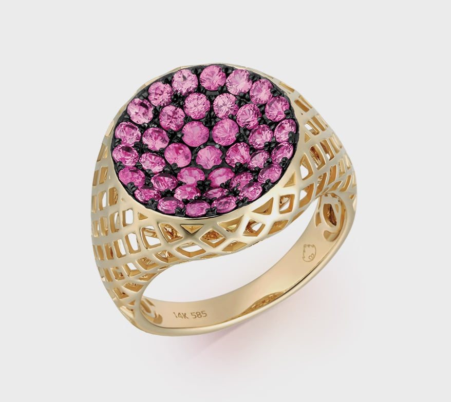 Luvente 14K yellow gold ring with pink sapphires