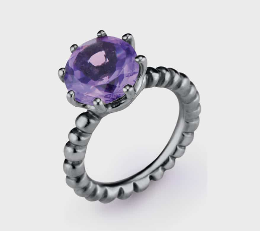 Nataly Aponte Rhodium-plated sterling silver ring with amethyst