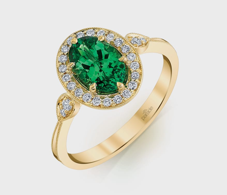 Parade Design 18K yellow gold ring with tsavorite