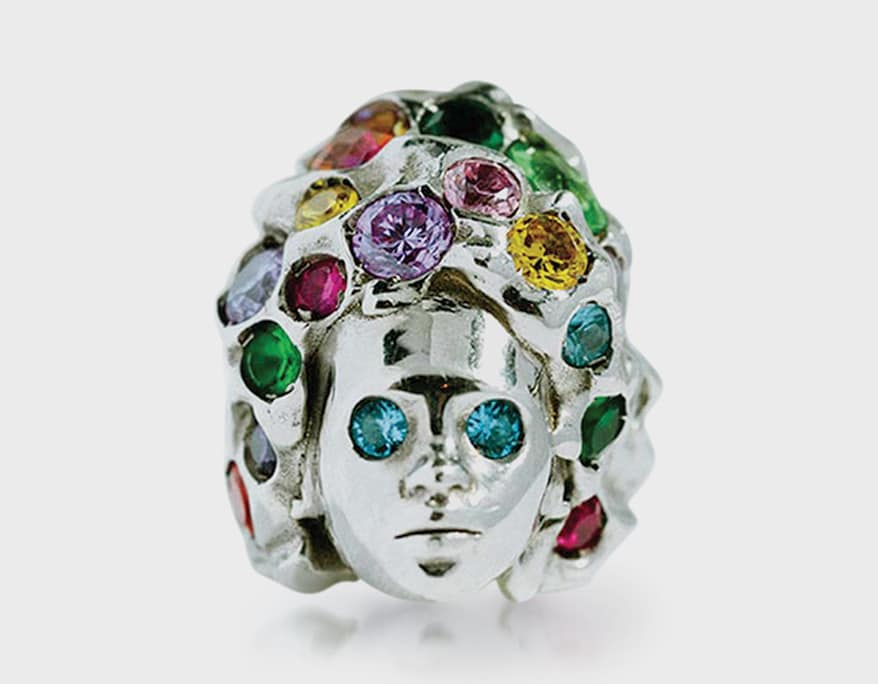 Adore Adorn Rhodium-plated sterling silver ring with multi-colored topaz