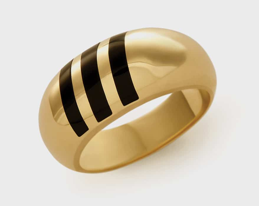 Alice Pierre 14K yellow gold ring with onyx inlay