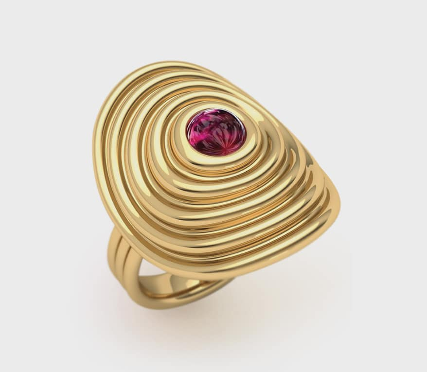 Almasika 18K yellow gold ring with ruby