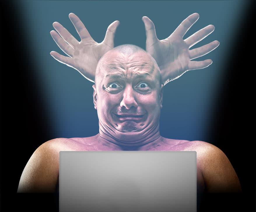 man scared of laptop