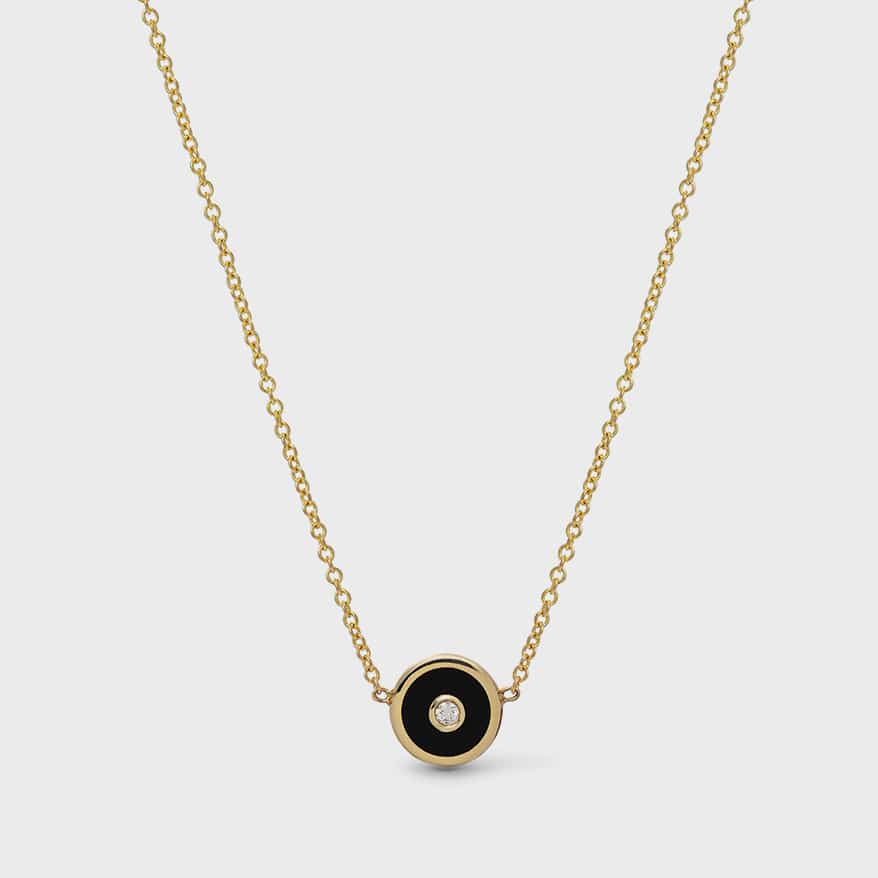 Retrouvai 14K yellow gold, black onyx and diamond pendant