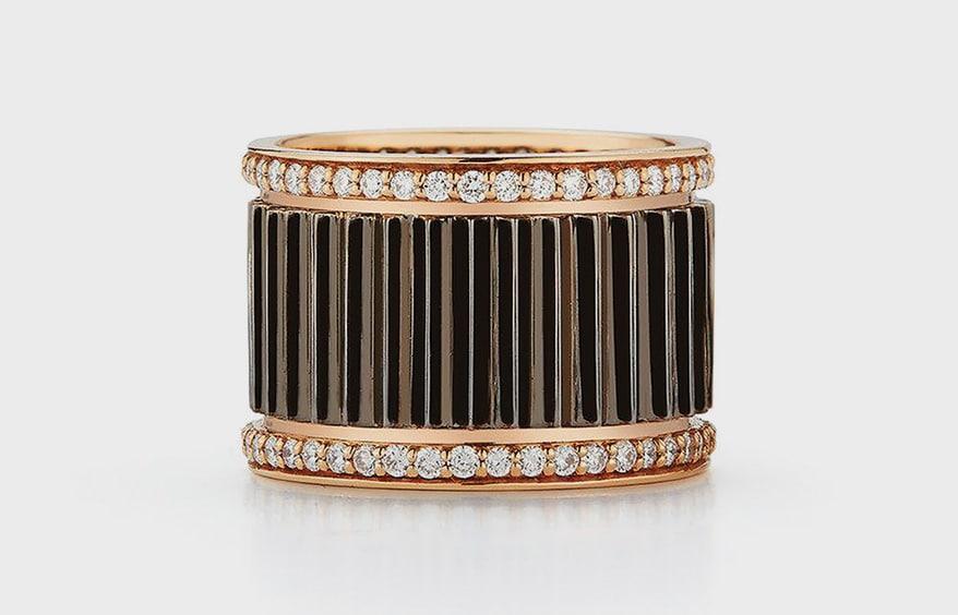 Walters Faith 18K rose gold, black rhodium and diamond ring.