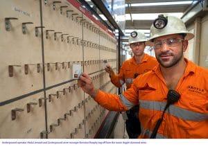 Argyle underground operator Abdul Jenzarli and Argyle underground mine manager Brendan Murphy