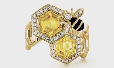 Artistry Ltd 14K yellow gold ring with citrine (2.26 TtCW), diamonds, and enamel.