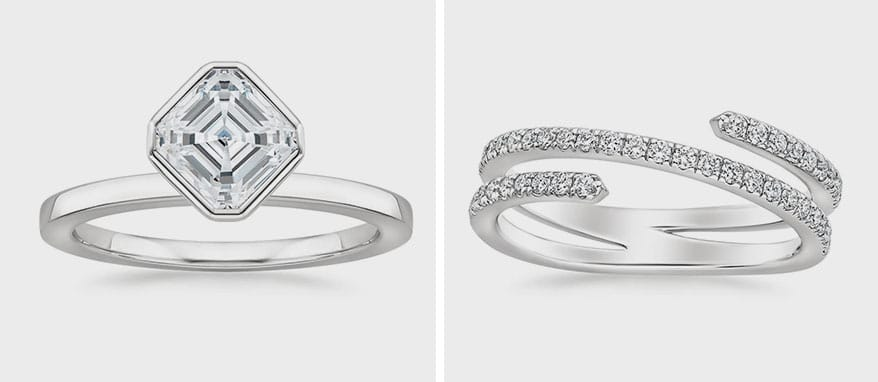 Brilliant Earth Cielo Ring and Helix Diamond Ring