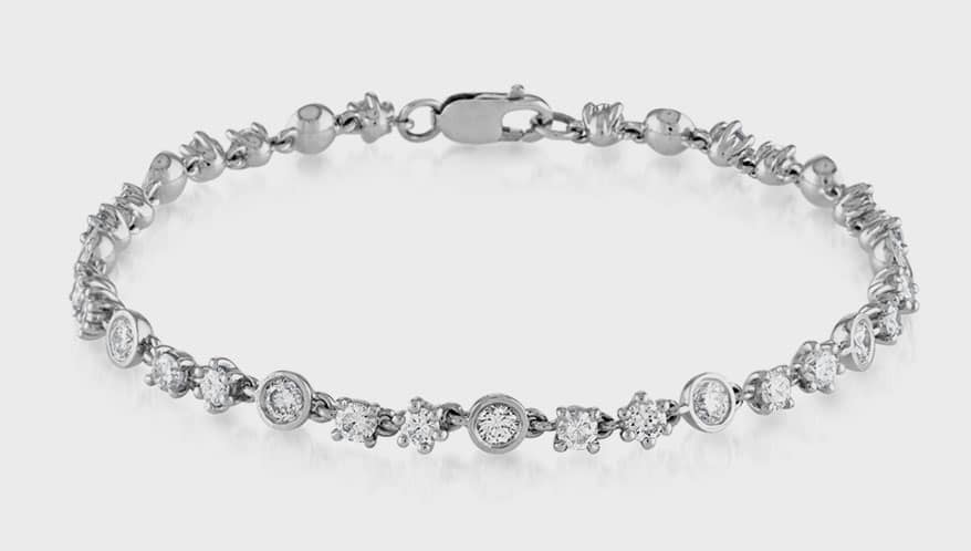 Fewer Finer Things bracelet with three styles of bezel, designed in a repeating pattern.