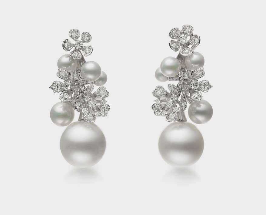 Mikimoto Bloom earrings with mixed diamonds and cultured pearls in white gold.