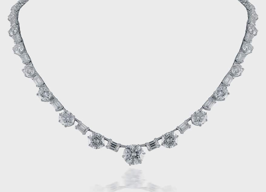 Beauvince Round & Emerald Cut Diamond Solitaire Necklace
