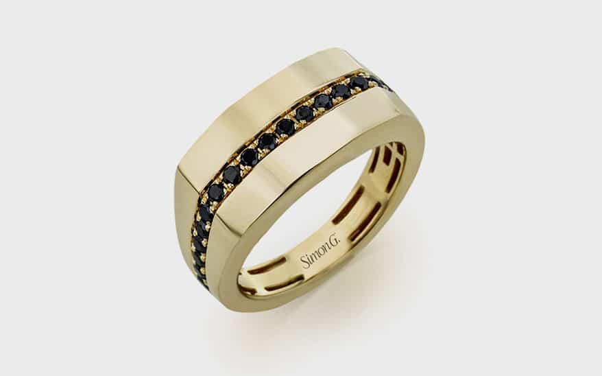 Simon G. Jewelry 14K yellow gold ring with black diamonds (0.63 TCW).