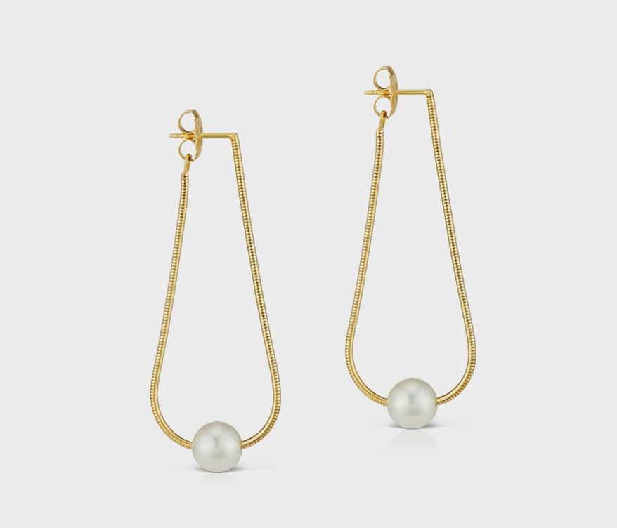 Assael 18K gold Silk pearl earrings.