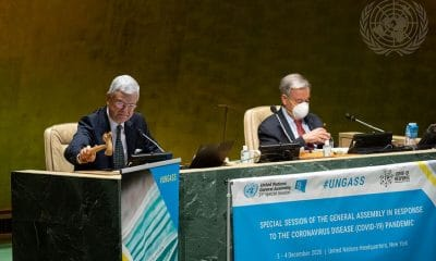 Volkan Bozkır (left), President of the United Nations General Assembly