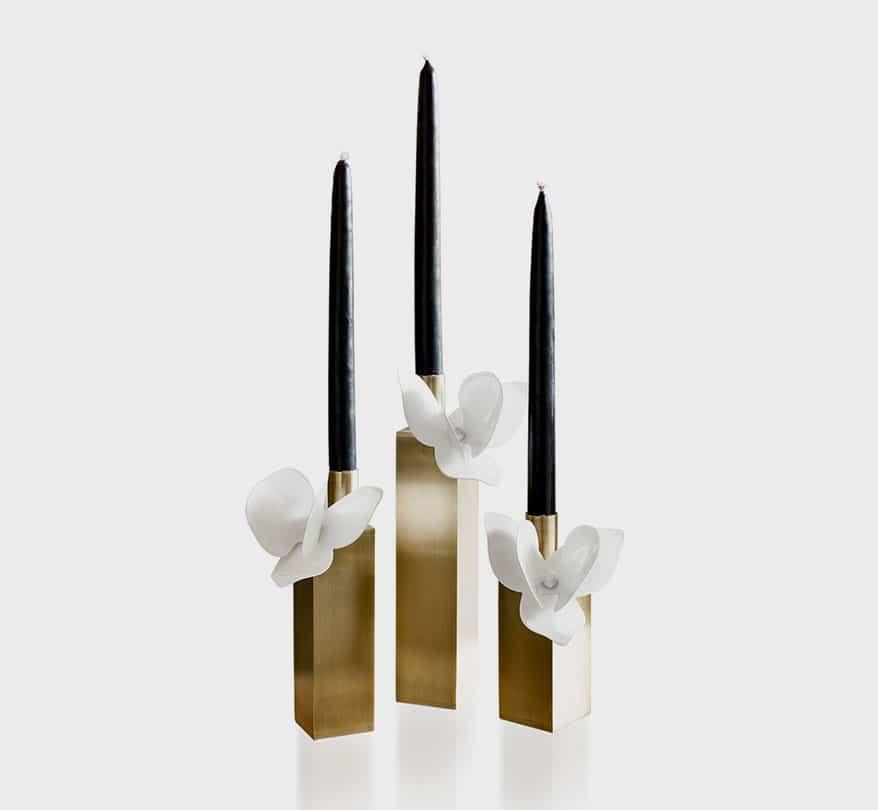 floral Deniz Tunc Design candlesticks