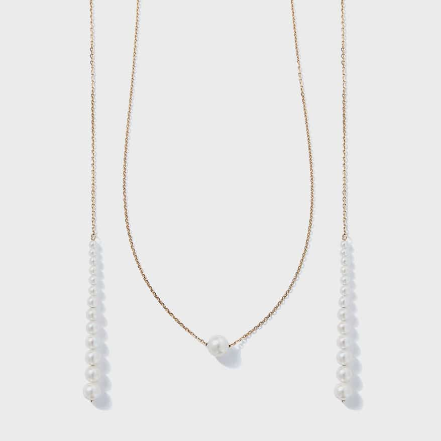 Sea of Beauty Collection pearl lariat in white 14K gold with Akoya and freshwater graduated pearls.