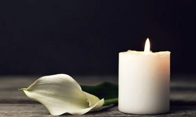 funeral candle and flower