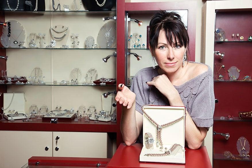 jewelry store owner show jewelry set