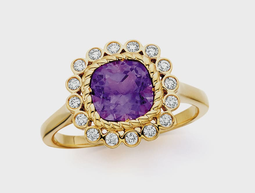 Berco 10K yellow gold ring with amethyst and diamonds.