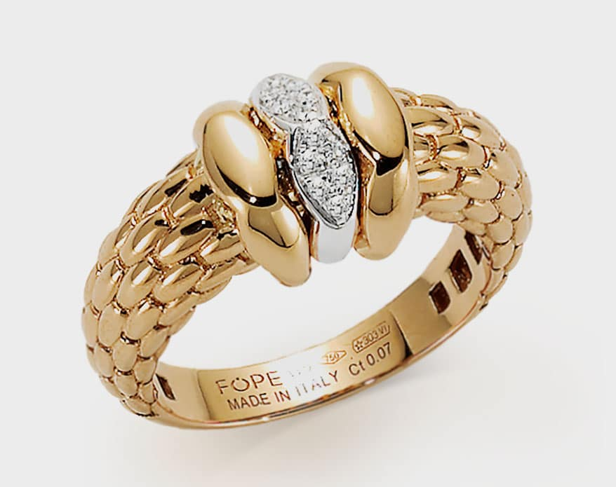 FOPE 18K yellow gold ring with diamonds.