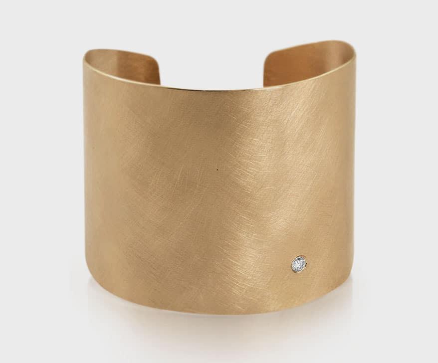 Julez Bryant 18K yellow gold cuff bracelet with diamond.