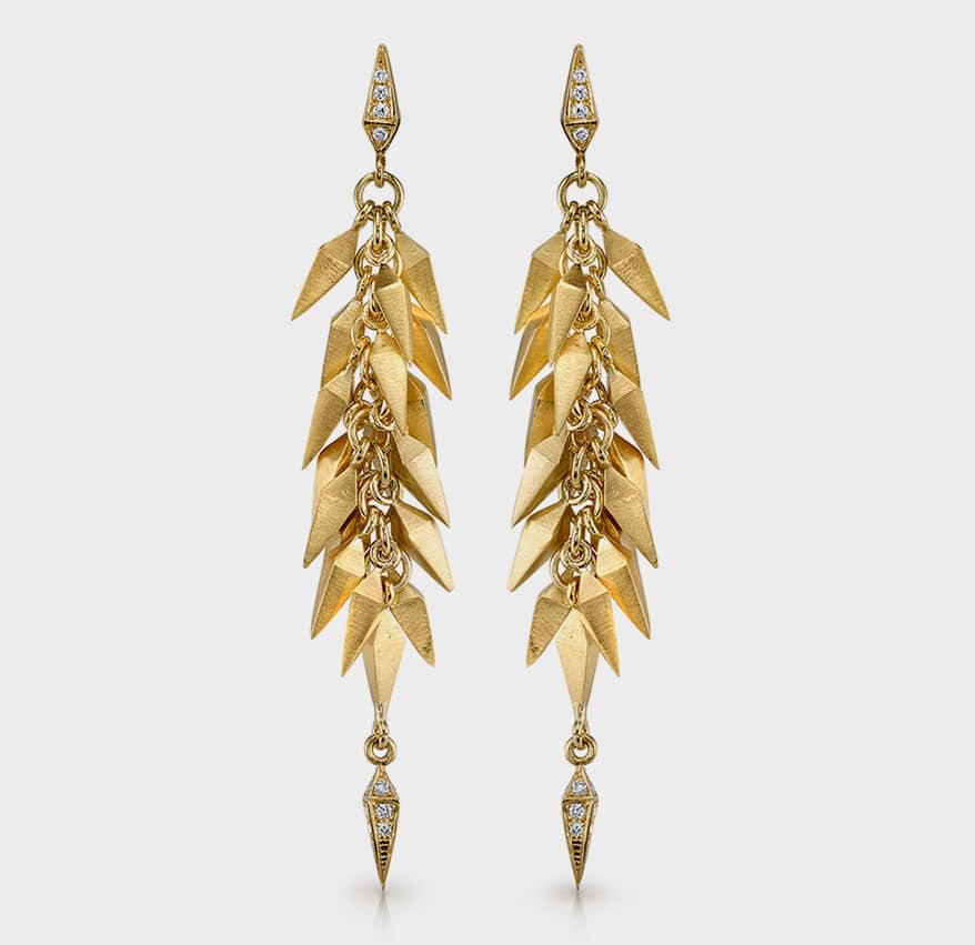 Karma El Khalil 18K yellow gold earrings with diamonds.